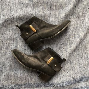 Shoes - Black suede ankle booties LIKE NEW
